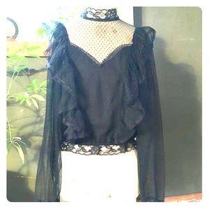 Tops - Vintage Black Lace Blouse